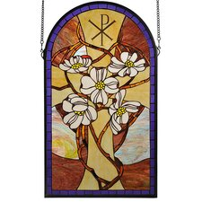 Victorian Tiffany Floral Gothic Nouveau Religious Cristograph Dogwood Stained Glass Window