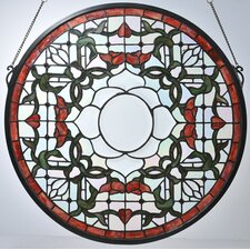 Victorian Tiffany Nouveau Tulip Bevel Medallion Stained Glass Window