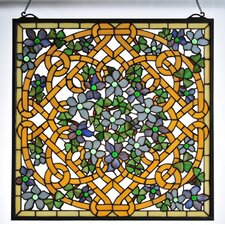 Tiffany Floral Shamrock Garden Stained Glass Window