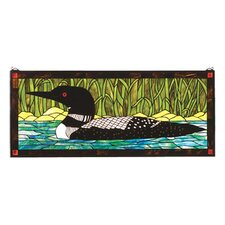 Lodge Tiffany Floral Animals Loon Stained Glass Window