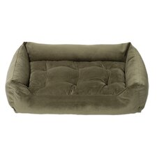Plush Velour Nest Dog Bed in Kale