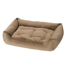 Plush Velour Nest Dog Bed in Mushroom