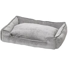 Micro-Velvet Lounge Dog Bed in Platinum