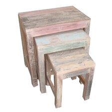 White Wash 3 Piece Nesting Tables