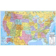 Us & World Politcal Rolled Map Set