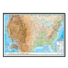 United States Advanced Physical Mounted Framed Wall Map