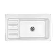 "Advantage Series 37"" x 22"" Greystone Self Rimming Single Bowl Kitchen Sink"