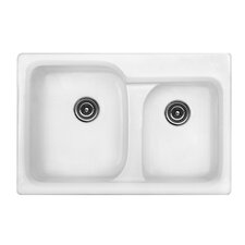 "Optimum 33"" x 22"" x 10"" Matunuck 60/40 Double Bowl Self Rimming Kitchen Sink"