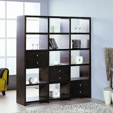 Bisect Room Divider with Six Adjustable Storage Drawers in Wenge