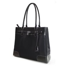 Women's Madison Laptop Tote in Black Microfiber