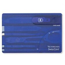 SwissCard Multi-Function Pocket Tool in Translucent Sapphire