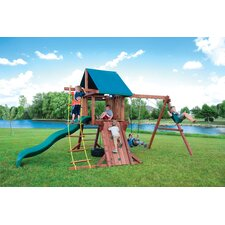 Redwood Two Ring Adventure Swing Set