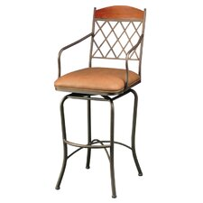 "Napa Ridge Bronze 30"" Swivel Bar Stool w/ Arms in Toast Fabric"