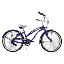 "Ladies 26"" Aluminum 7-Speed Shimano Premium Extended Deluxe Beach Cruiser"
