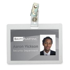 "Self-Laminating Badge,w/Strap Clip,Horz.,2-1/8""x3-3/8"",25/PK"