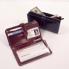 "High Polished Cowhide Aniline ""Kabul"" Leather Checkbook Wallet"