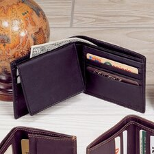 Black Cowhide Nappa Supple Leather Passcase Wallet