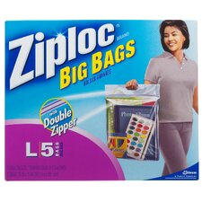 Ziploc Large Big Bag with Double Zipper Flexible Bag (5 Pack)