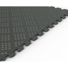 Raised Diamond Pattern Garage PVC Floor Tile in Metallic Graphite (Pack of 6)