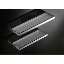 "Skuara 19.7"" Shelf with Safety Frosted Glass in Polished Chrome"