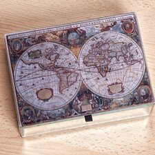 Atlas Mirrored Glass Antique Map Jewelry Box