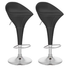 Round Styled Adjustable Bar Stool (Set of 2)
