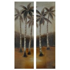 "Palm Trees in the Distance Oil Painting 70"" x 20"" (Set of 2)"