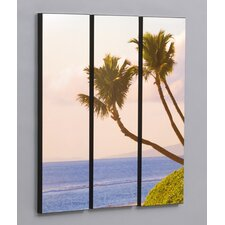 "Three Piece Maui Sweeping Palms Laminated Framed Wall Art Set - 36"" x 33"""