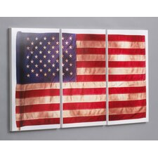"Three Piece Old Glory Laminated Framed Wall Art Set - 30"" x 53"""