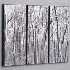 "Three Piece Snow Covered Woods Laminated Framed Wall Art Set - 36"" x 48"""