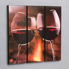 "Three Piece Red Wine Cheers Laminated Framed Wall Art Set - 36"" x 35"""