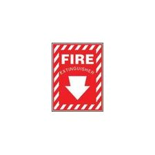 "X 10"" Red And White Aluminum Value™ Extinguisher Sign Fire Extinguisher With Down Arrow"