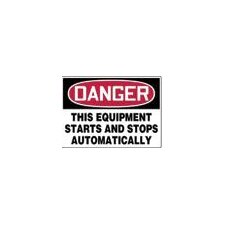 "X 14"" Red, Black And White Adhesive Vinyl Value™ Equipment Sign Danger This Equipment Starts And Stops Automatically"