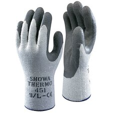 Size 8 Gray Seamless Cotton Thermal Flat Dipped Natural Rubber-Coated Work Gloves With Wrinkle Finish