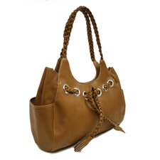 Ladies Braided Hobo Bag in Saddle