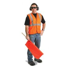 "Orange Polyester Mesh Economy Class 2 Vest With Front Hook And Loop Closure, 2"" Beaded Tape And 1 Outside Pocket"