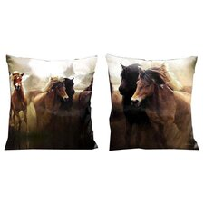 Western Mustangs Running in the Wild Pillow