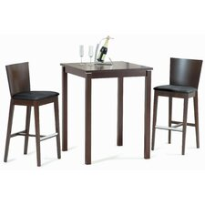 Cafe-411 Square Bar Table Set in Walnut