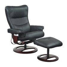 Topcliner 60V Leather Ergonomic Recliner and Ottoman