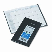 14-Month Unruled Monthly Planner, 3-3/8 x 6-1/16, Black, 2014