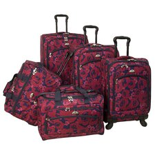 Red Rose 5 Piece Spinner Luggage Set