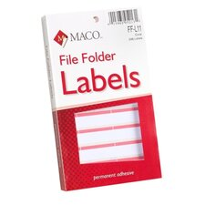 "File Folder Labels, 9/16""x3-7/16"", Coral"