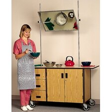 Mobile Cooking Demonstration Table with Overhead Mirror and Optional Range