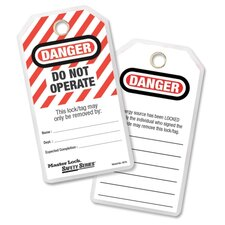 "Lockout Tags,""Danger-Do Not Operate"",3""x5-3/4"",12/PK,BK/RD"