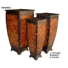 Tall Metal Square Planter with Feet (Set of 3)