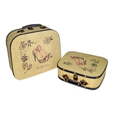 Peep Toe Lace Heel Suitcase (Set of 2)