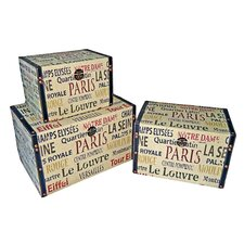 Small Trunk with Parisian Typography (Set of 3)