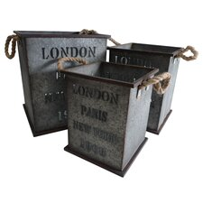 """London, Paris, & NY"" Square Planter"
