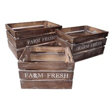 Farm Fresh Wood Crate (Set of 3)