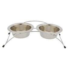 Aruba Elevated Arched Metal Dog Double Diner